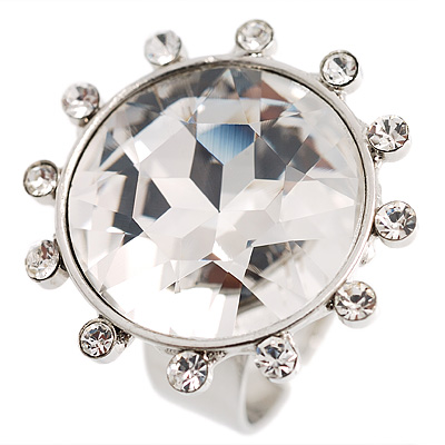 Round-Cut Clear Crystal Costume Ring