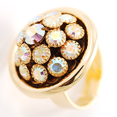 Diamante Plate Fashion Cocktail Ring
