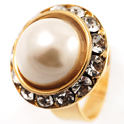 Gold Pearl Style Button Fashion Ring