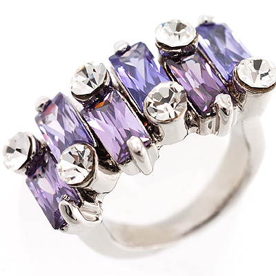 Fashion Baguette-Cut Lilac Cocktail Ring