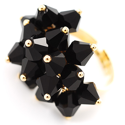 Black Currant Fashion Cocktail Ring