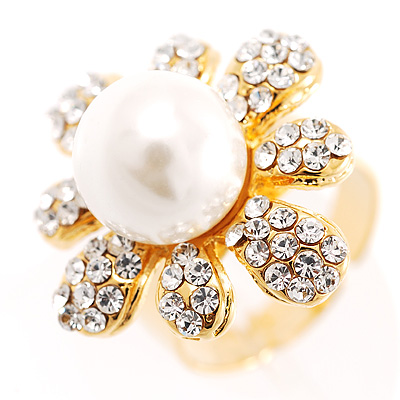 Camomile Glass Pearl Ring