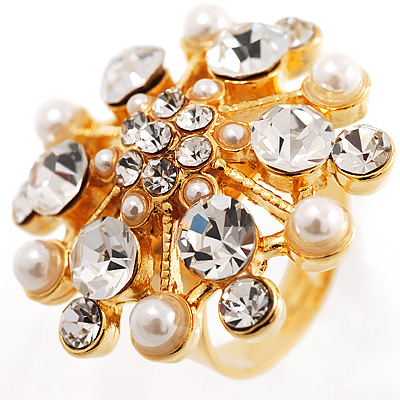 Simulated Pearl Crystal Gold Cocktail Ring