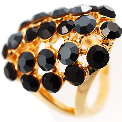 Jet Crystal Grill Cocktail Ring