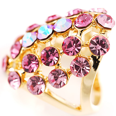 Pink Crystal Grill Cocktail Ring