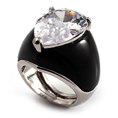 Pear-Cut Clear Swarovski Crystal Fashion Ring