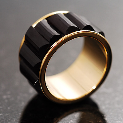 Black Plastic Broad Band Costume Ring