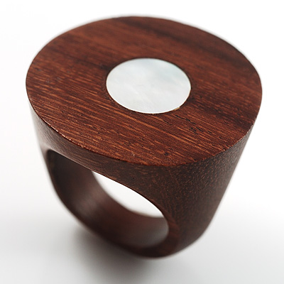 Wood Stamp With Shell Centre Inlay Fashion Ring
