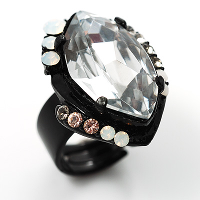 Clear Marquise-Cut Vintage Cocktail Ring