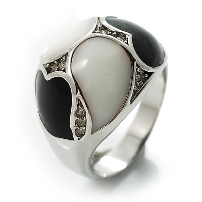 Dome-Shaped Enamel Ring (Black & White)
