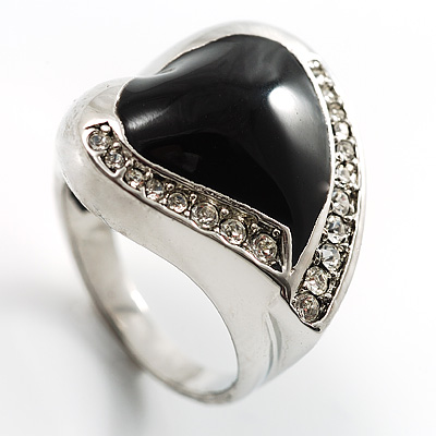 Black Enamel Crystal Heart Ring