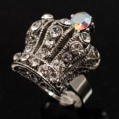 Clear Crystal Crown Cocktail Ring