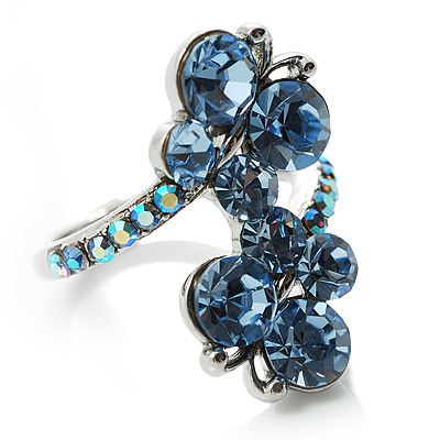 Sky Blue Diamante Butterfly Ring