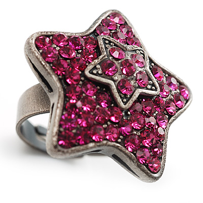 Magenta Crystal Star Ring - main view