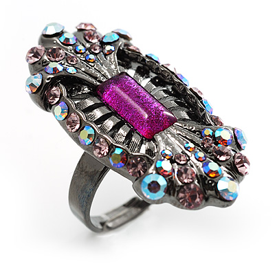 Black Tone Elongate Vintage Crystal Ring (Magenta)