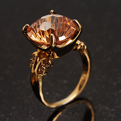 Citrine Rock Cocktail Ring