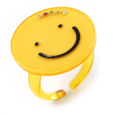 Yellow Plastic Smiling Face Ring - main view