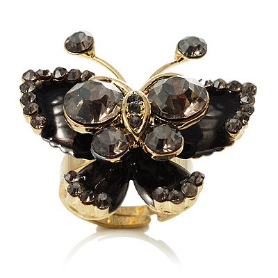 3D Crystal Butterfly Ring (Gold&Black)