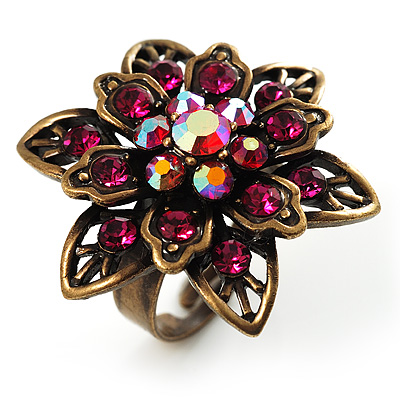 Bronze-Tone Crystal Flower Cocktail Ring (Magenta)