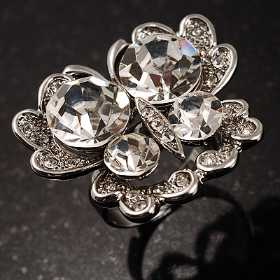 Stunning Clear Crystal Butterfly Cocktail Ring