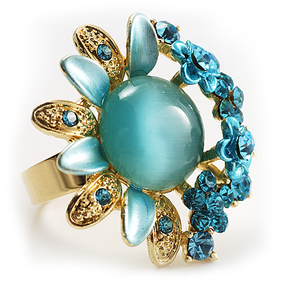 Sky Blue Diamante Enamel Floral Cocktail Ring