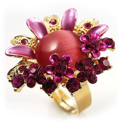 Magenta Diamante Enamel Floral Cocktail Ring