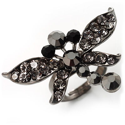 Rhodium Plated Diamante Dragonfly Fashion Ring (Jet Black)