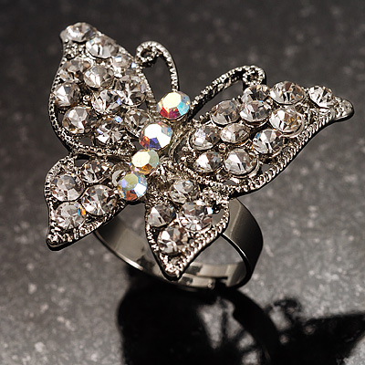 Silver Tone Clear Crystal Butterfly Ring - main view