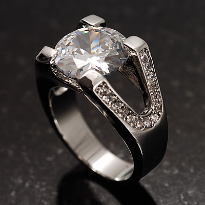 Brilliant-Cut Crystal Clear CZ Solitaire Ring