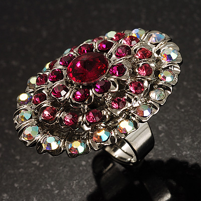 Large Oval-Shaped Crystal Cocktail Ring (Pink)