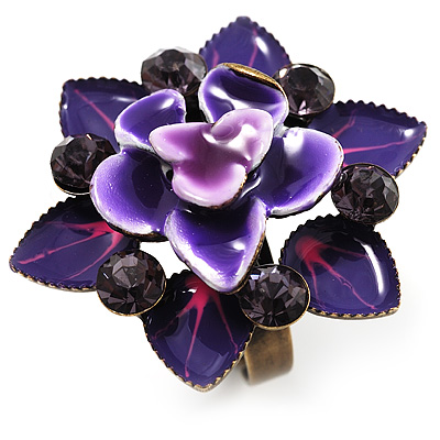 Purple Crystal Enamel Cocktail Ring (Bronze Tone)