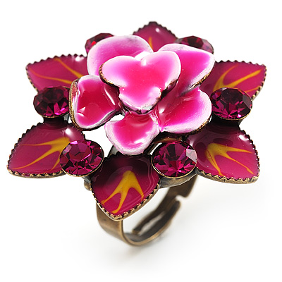 Raspberry Crystal Enamel Cocktail Ring (Bronze Tone)