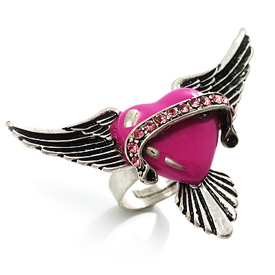 Vintage Pink Heart And Wings Cocktail Ring (Antique Silver)