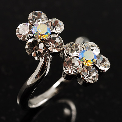 Clear Crystal Flower Ring - main view