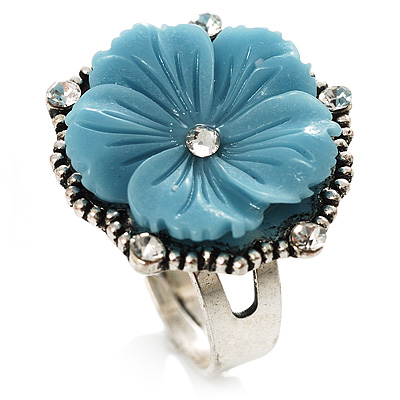 Antique Silver Pale Blue Flower Ring
