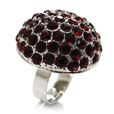 Silver-Tone Crystal Dome Shape Cocktail Ring (Burgundy)