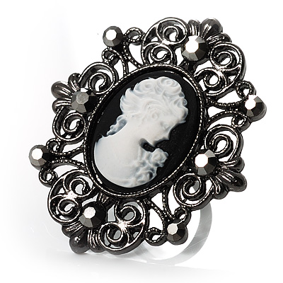 Large Filigree Crystal Cameo Cocktail Ring (Black Tone) - main view