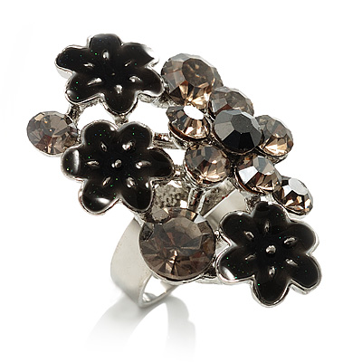 Large Enamel Crystal Floral Cocktail Ring (Black)