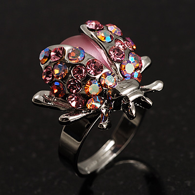 Pink Crystal Ladybird Ring - main view
