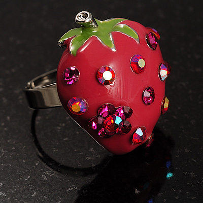 Peach Red Enamel Strawberry Ring