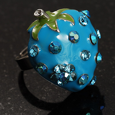 Sky Blue  Enamel Strawberry Ring