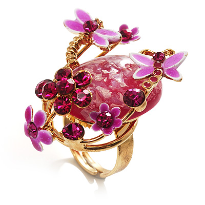 Exquisite Flower And Butterfly Cocktail Ring (Gold And Magenta)
