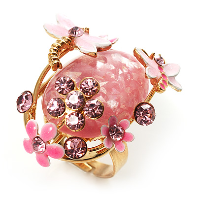 Exquisite Flower And Butterfly Cocktail Ring (Gold And Pale Pink) - main view