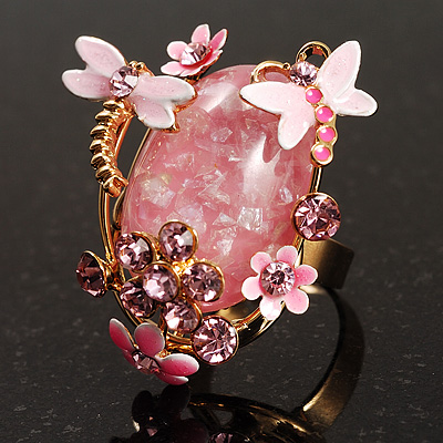 Exquisite Flower And Butterfly Cocktail Ring (Gold And Pale Pink)
