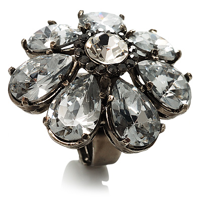 Oversized Ice Clear Crystal Flower Cocktail Ring