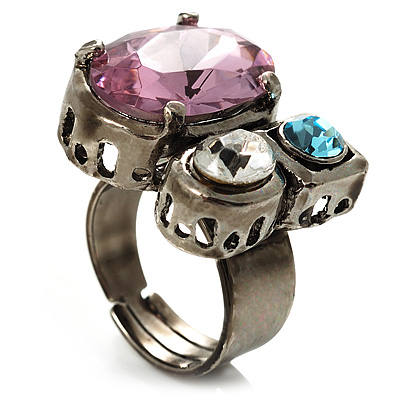 Bold Multicoloured Crystal Cluster Cocktail Ring - main view