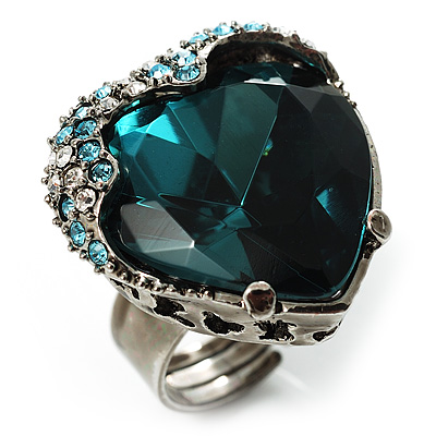 Teal Crystal Contemporary Heart Ring - main view