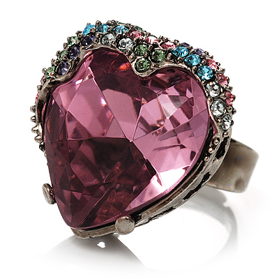 Pink Crystal Contemporary Heart Ring