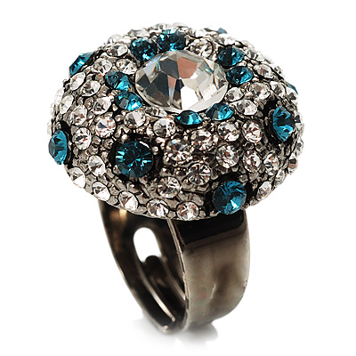 Crystal Dome Shaped Cocktail Ring (Icy Clear&Teal Blue) - main view