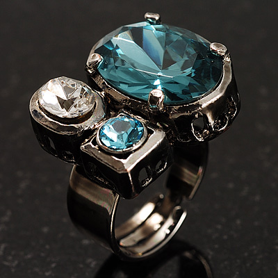 Bold Crystal Cluster Cocktail Ring (Clear&Teal)